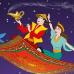 Aladdin and Jasmine on the magic carpet