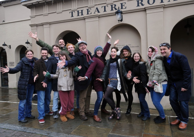 The cast of Aladdin outside The Theatre Royal Bury St Edmunds